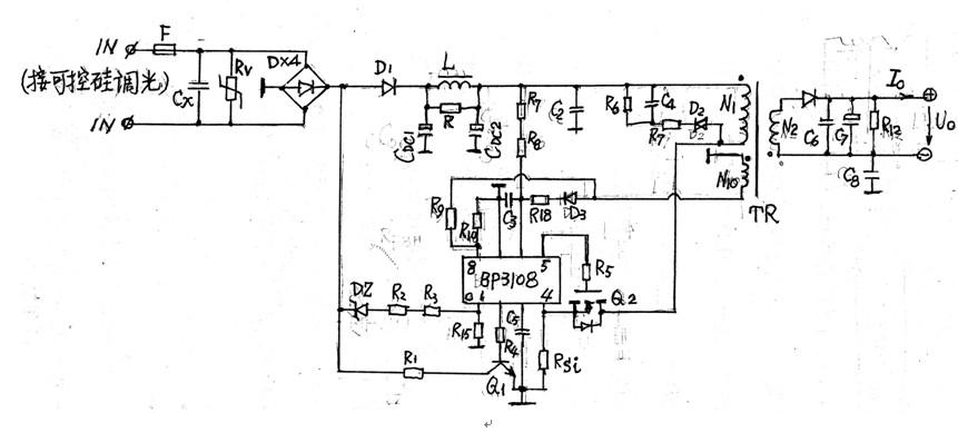 (图一)支持可控硅调光的bp3180芯片led恒流电源电路