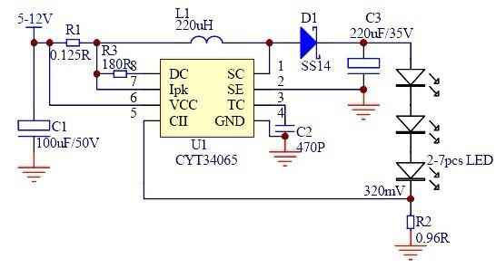 设计升,降压型恒流led驱动电路,内置1a功率达林顿管,开关型高效转换器
