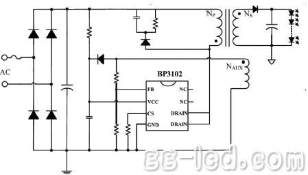 从公式(2)中可得,要使led输出电流恒定,就需要通过驱动芯片控制∫