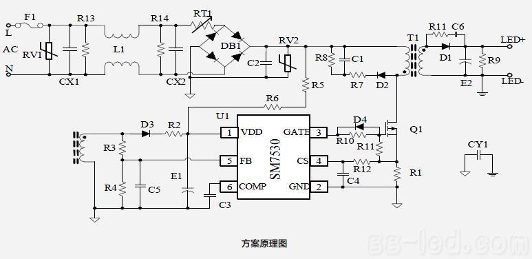 隔离型高功率因数 led照明驱动方案sm7530