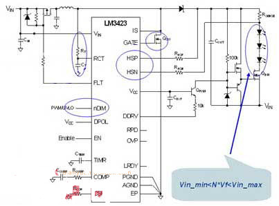 在电压波动时,我们需要保持流过led的电流恒定,升压/降压led驱动器
