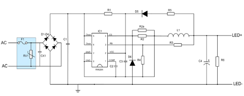rm9292d 非隔离buck 18w 240ma 吸顶灯方案典型应用图